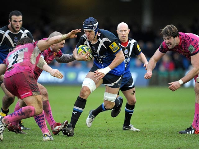 Bath's Ben Skirving breaks through a tackle against Exeter in the LV= Cup on January 26, 2013