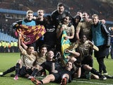 League Two underdogs Bradford City celebrate their League Cup semi-final win over Aston Villa on January 22, 2013