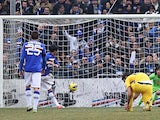 Sampdoria's Citadin Martins Eder scores the opening goal against Pescara on January 27, 2013