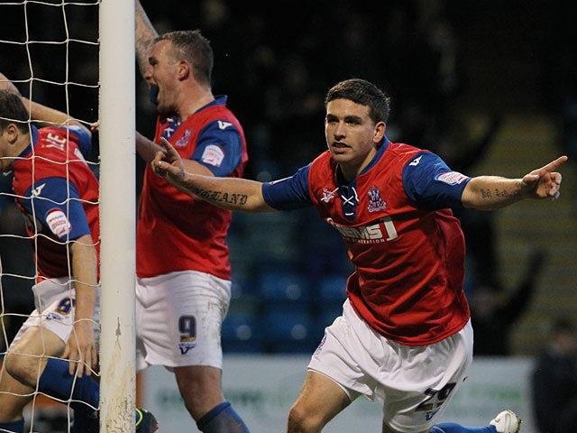 Gillingham's Cody McDonald celebrates scoring the equaliser against York on January 26, 2013