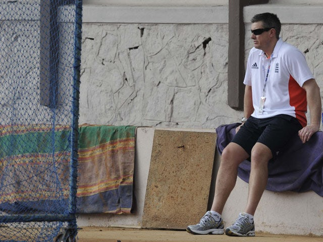 England selector Ashely Giles watches a net session on February 25, 2011