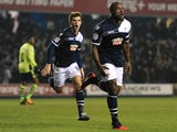 Millwall defender Danny Shittu celebrates his goal against Aston Villa on January 25, 2013