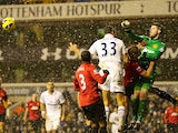 David de Gea clears the ball during the game against Spurs on January 20, 2013