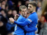 Rangers' David Templeton is congratulated by team mate Kyle Hutton after scoring the opening goal against Montrose on January 26, 2013