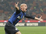 Inter midfielder Esteban Cambiasso celebrates his goal against Torino on January 27, 2013
