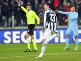 Juve forward Federico Peluso celebrates his Coppa Italia strike against Lazio on January 22, 2013