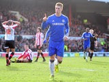 Fernando Torres celebrates scoring a late equaliser in the FA Cup fourth round tie against Brentford on January 27, 2013