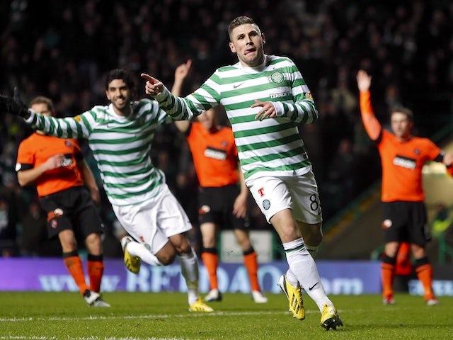 Celtic forward Gary Hooper celebrates a goal against Dundee United on January 22, 2013