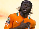 Ivory Coast's Gervinho celebrates scoring the opening goal in the Africa Cup of Nations match against Tunisia on January 26, 2013