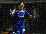 AFC striker Jack Midson celebrates scoring against Port Vale on January 24, 2013