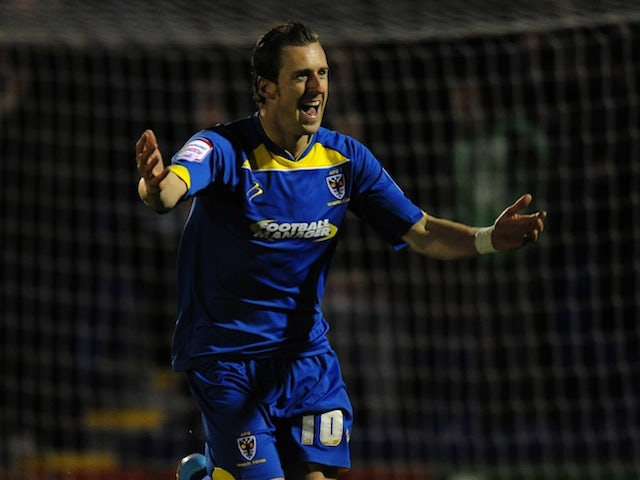 AFC striker Jack Midson celebrates scoring against Port Vale on January 24, 2013