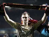 Goalscoring hero James Hanson celebrates after Bradford beat Aston Villa to reach the League Cup final on January 22, 2013
