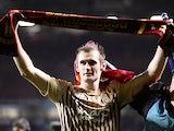 Goalscoring hero James Hanson celebrates after Bradford beat Aston Villa to reach the League Cup final on January 22, 2013