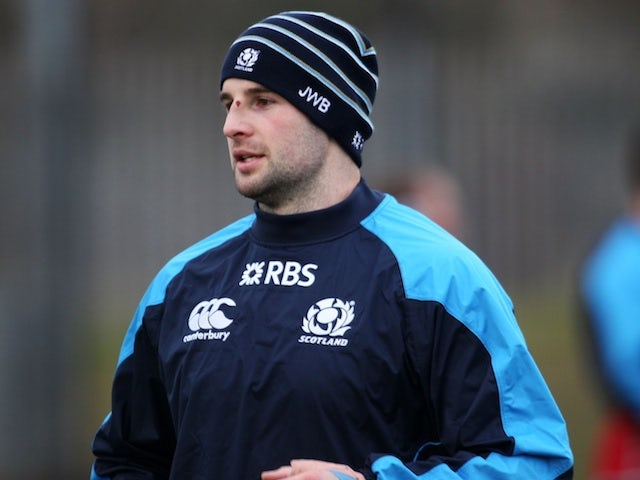 Scotland's Johnnie Beattie during a training session in Glasgow on January 22, 2013