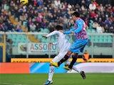 Catania's Lucas Castro scores the winner against Fiorentina on January 27, 2013