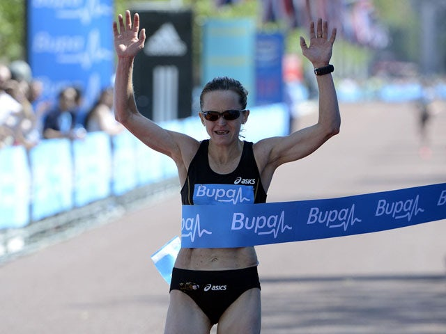 Great Britain's Mara Yamauchi crosses the line to win the Bupa London 10,000 on May 27, 2012