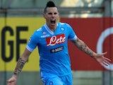 Napoli's Marek Hamsik celebrates scoring the opener against Parma on January 27, 2013