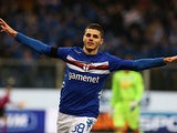 Sampdoria's Mauro Icardi celebrates scoring against Pescara on January 27, 2013
