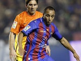 Levante player Nabil El Zhar dribbles with the ball during his sides match with Barcelona on November 25, 2012
