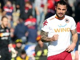Roma's Pablo Osvaldo celebrates scoring his team's second against Bologna on January 27, 2013