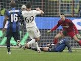 Torino's Riccardo Maggiorini scores against Inter Milan on January 27, 2013