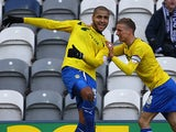 Richard Wood and Carl Baker celebrates their team's second goal against Preston on January 26, 2013