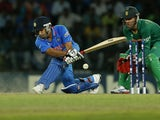 Rohit Sharma plays a shot for India in their match against South Africa during the ICC Twenty20 Cricket World Cup on October 2, 2012