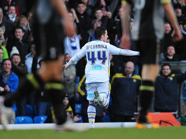Ross McCormack celebrates scoring his team's second in the FA Cup fourth round tie against Tottenham on January 27, 2013