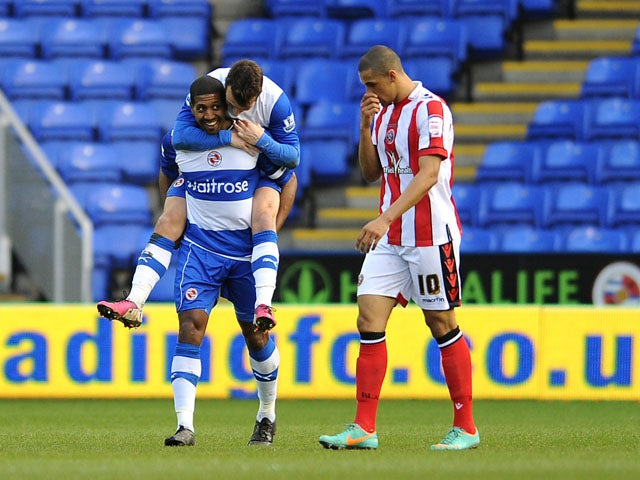 Reading player Mikele Leigertwood celebrates scoring for his side in their match with Sheffield United on January 26, 2013