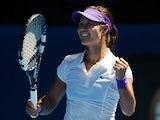 China's Li Na celebrates after defeating Maria Sharapova in the semifinal of the Australian Open tennis championship on January 24, 2013