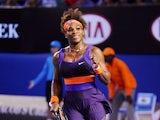Serena Williams celebrates her fourth round victory over Maria Kirilenko at the Australian Open tennis championship on January 21, 2013