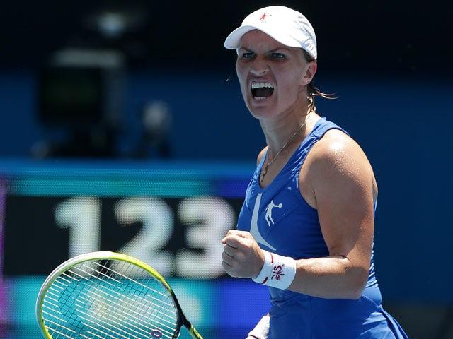 Russia's Svetlana Kuznetsova during her fourth round match against Caroline Wozniacki at the Australian Open tennis championship on January 21, 2013