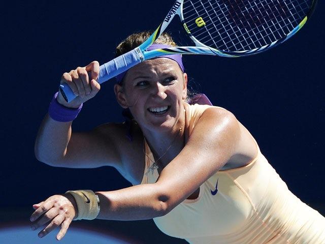 Victoria Azarenka in action in the semifinal of the Australian Open tennis championship on January 24, 2013