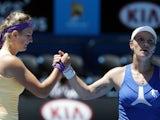 Victoria Azarenka shakes the hand of Svetlana Kuznetsova following her quarter-final victory on January 23, 2013