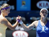 Victoria Azarenka shakes the hand of Svetlana Kuznetsova following her quarter-final victory on January 23, 2013