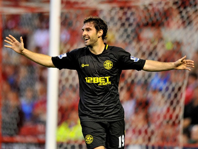 Wigan Athletic player Mauro Boselli celebrates scoring his sides opening goal in their match with Nottingham Forest on August 28, 2012