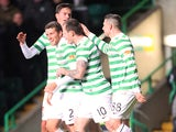 Celtic's Adam Matthews is congratulated on a goal against Kilmarnock on January 30, 2013