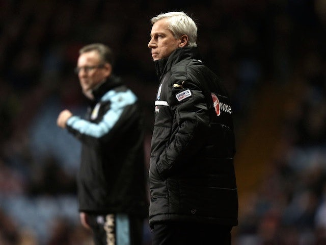 Magpies boss Alan Pardew on the touchline at Aston Villa on January 29, 2013