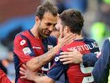 Genoa's Andrea Bertolacci celebrates with team mate Daniele Portanova after scoring his team's second against Lazio on Febraury 3, 2013