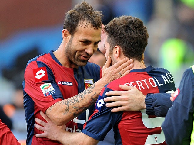 Genoa's Andrea Bertolacci celebrates with team mate Daniele Portanova after scoring his team's second against Lazio on Febraury 3, 2013