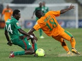 Action shot from Burkina Faso v Zambia on January 29, 2013