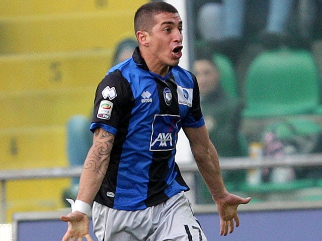 Atalanta's Carlos Carmona celebrates his goal against Palermo on February 3, 2013