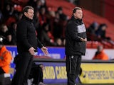 Coventry City manager Mark Robbins (right) and his opposite number Danny Wilson during his sides match with Sheffield United on February 1, 2013