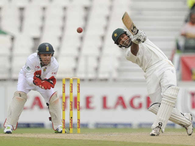 Pakistan's Asad Shafiq hits a four during his side's match with South Africa on February 3, 2013