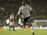 Fulham's Hugo Rodellega celebrates a goal against West Ham on January 30, 2013