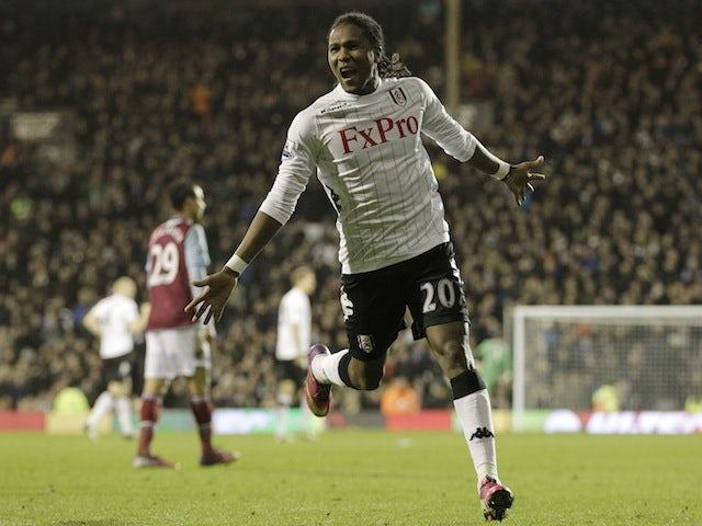 Fulham's Hugo Rodellega celebrates a goal against West Ham on January 30, 2013