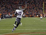 Ravens WR Jacoby Jones celebrates a touchdown against Denver on January 12, 2013