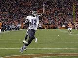 Ravens WR Jacoby Jones celebrates a touchdown against Denver on January 12, 2013