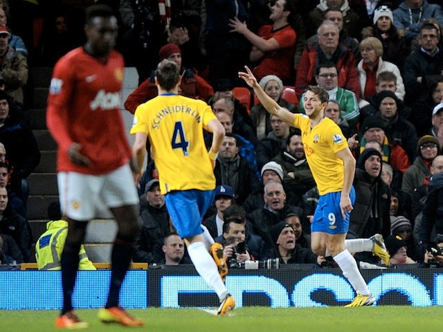 Saints forward Jay Rodriguez celebrates his strike against Man Utd on January 30, 2013