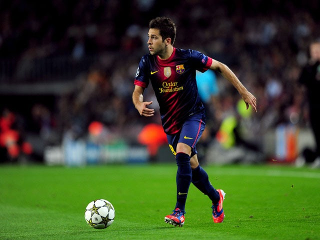 Barcelona's Jordi Alba during his sides Champions League match with Celtic on October 23, 2012